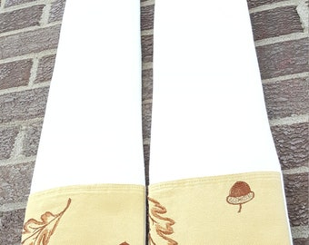 white clergy stole with upcycled embroidered leaves for minister, pastor, or priest from communion or weddings