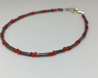 Dot-Dash Beaded Bracelet Seed Bugle Beads