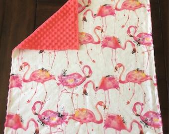 Baby blanket / doudou cotton organic flamingos