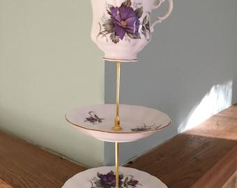 Three tier bone china cake stand, teacup cake stand,vintage china teacup cake stand,wedding cake stand,wedding centrepiece,vintage tea party