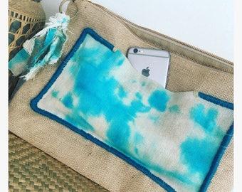 Bag pouch/clutch/bag XXL tie dye Turquoise and burlap. Unique piece!
