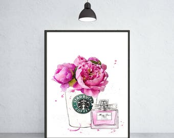 Miss Dior Cherie perfume art print Dior poster Dior warecolor Dior home decor Dior wall decor Dior painting Starbucks  with roses art