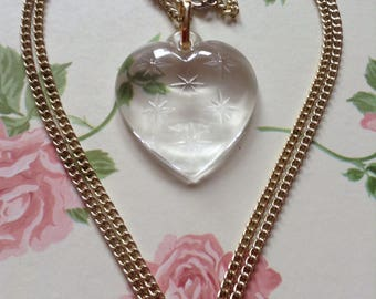 Movitex clear heart with stars pendant and chain.