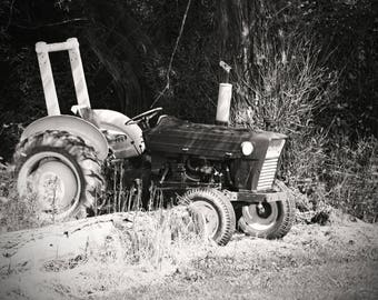 Tractor Black & White on Canvas or Poster Photo print Made to Order Wall Art