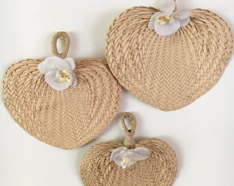 Set of 3 vintage raffia fans with faux white orchids - tropical - hawaiian - boho
