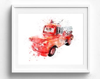 Red the Fire Engine, Disney Cars, Nursery Wall Art, Disney Pixar Cars, Nursery Decor, Disney Cars Art, Disney Print, Disney Watercolor