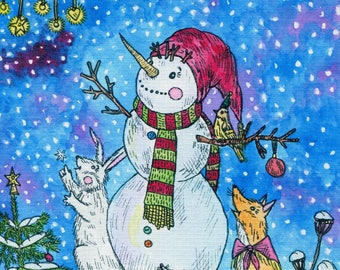 fairy tale print, snowman painting, snowman prints, print for nursery, print for girls room, print for kids, print for boy room, art print