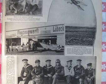 1920–German Flying School - from Leslie's Photographic Review of The Great War (WW I), Vintage, Rare Account of World War I
