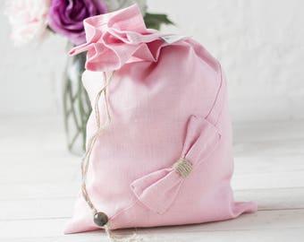Linen lingerie bag - pink travel lingerie bag - lingerie organizer - bra organiser