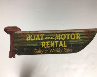 Boat and Motor Rental Vintage Faux Tin Sign