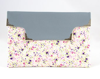Floral Grey Vegan Leather Cut Out Clutch. Grey Purse. Everyday Purse. Medium Purses.