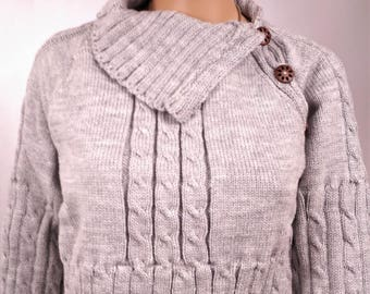 Sweater-women-size 38 - made hand Raglan color gray-French - wool - acrylic - 0123