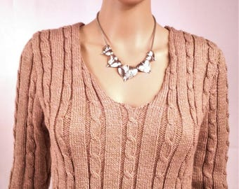 Sweater-women-neck V - knit is hand-made in France-wool-color old Rose-size38 - 0168