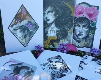 Six original design greeting cards