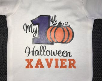 Personalized Baby Boy or Girl First Halloween Onesie Oufit