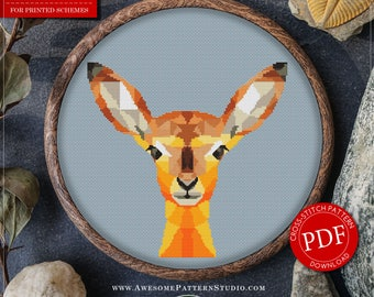 Counted Cross Stitch Pattern of Polygonal Antelope for Instant Download *P216   Geometric Cross Stitch  Easy Cross Stitch