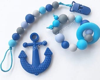 Sale Silicone Set Pacifier Clip Teething Ring Teether Anchor  Dummy Clip Silicone Teething Toy Blue Beads Nursing Toy Food Grade Silicone