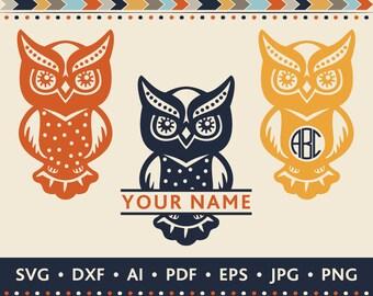 Owl SVG Owl Monogram SVG Cut File Owl Frames Svg Monogram Owl SVG Tribal Frame Svg Ethnic Svg Silhouette Cutting files Svg Dxf Jpg Png Eps