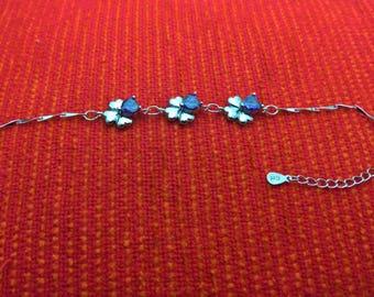 Silver plated Clover bracelet with purple rhinestone