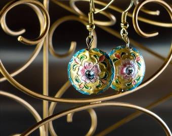 Flower Mosaic Earrings, Gold Disc Earrings, Round Dangle Earrings, Charity Earrings, Charity Donation, 16th Birthday Gift for Her
