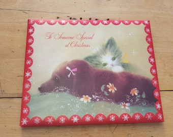 3 x Vintage kitsch padded Christmas cards in their boxes.