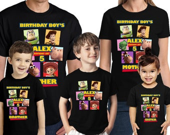 Toy Story Birthday Shirt Personalized Name and Age Toy Story Shirt Customized Birthday Party Favors