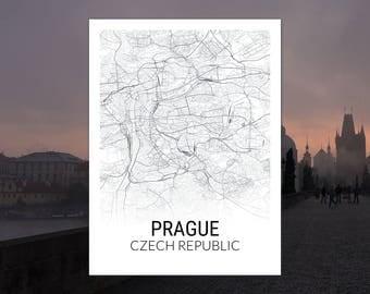 Prague Czech Republic Map Print