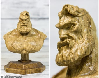 Wooden Superman, bearded superman, dc, dc comics, dc heroe, dc character