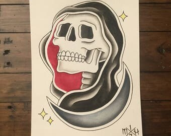 ORIGINAL grim reaper / skull tattoo flash painting