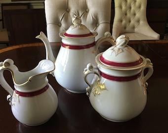 Vintage H & C hot pink and white ceramic teapot, sugar bowl and creamer