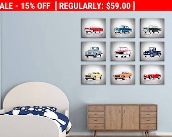 discount set of 9 cars and pickups wall prints boys room decor kids room
