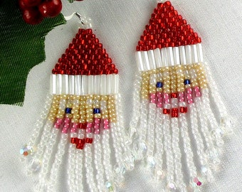Santa Claus Earrings Seed Bead Fringe Christmas Earrings Holiday Jewelry Red & White Beads