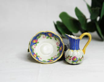 Dollhouse Miniature Pitcher and Bowl, Semi Matte Finish Porcelain, Hand Painted with Flower Design, Gold Trim, Vintage Style