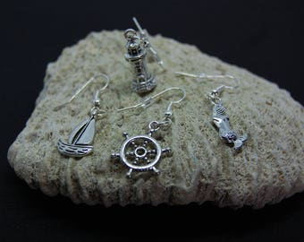 Mismatched earrings marine theme