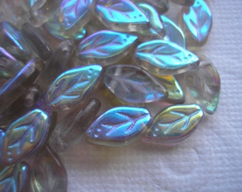 Czech Glass Beads, Iridescent Smoky Gray AB, Leaf-Shaped Beads,  .5 Ounce Bag of Beads, Beading Materials, Color Shifting Beads, Iridescent