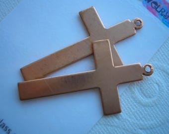 "Copper Blanks, Cross with Top Loop, 1 7/8"" x 1"", Two Crosses for Necklaces, Copper Shapes, Copper Enameling Supplies, Metal Stamping Blanks"