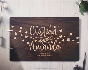 Custom Wedding Guest Book Wedding guest book alternative Hearts Wood wedding guest book, wood guest book  guestbook Personalized guestbook