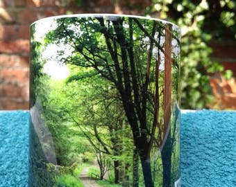 Macclesfield forest mug with winding path- photograph- forest- mug- cup-landscape