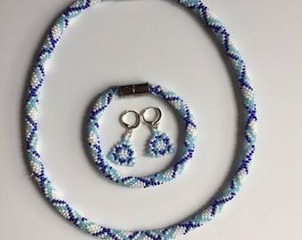 Pearl Jewelry set geometry blue white