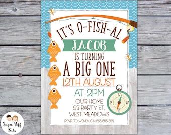 Boys O-fish-al 1st Birthday Party Invitation, O-Fish-Al 1st Birthday Invitation, O-Fish-Al First Birthday Invite For Boy