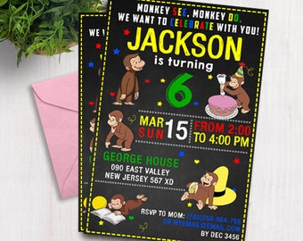 Curious George Birthday invite,Curious George Birthday invitation,JPG file,Birthday Invite,Curious George invitation,Curious George