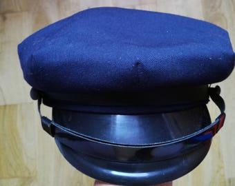 Vintage 80's Cap Hat/ Sailor Hat/ Mens Hat/ Dark Blue Hat/ Berets Hat