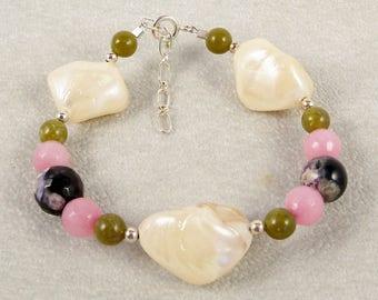 Jade and Mother of Pearl Bracelet, Green Jade, Pink Jade, Purple Agate, Mother of Pearl Nugget, Handmade Beaded Bracelet, Jade Jewelry