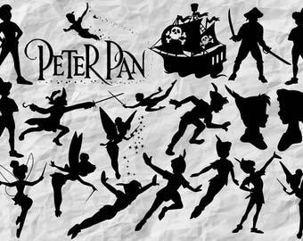 18 Peter Pan Silhouettes | Peter Pan SVG cut files | Peter Pan cliparts | digital files | vectors | printable | wall print | prints