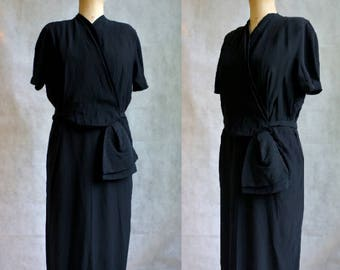 Black 1940s Rayon Dress / Vintage Dress
