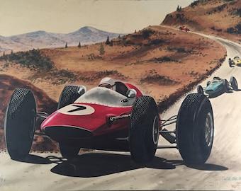 "Vintage Race Car Painting / Original Signed ""JE OLDT"" Racetrack Landscape Painting"
