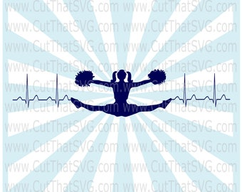 Cheer leading heartbeat SVG Cut File