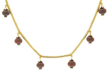 18K 1880's Victorian Necklace with Garnets and Diamonds