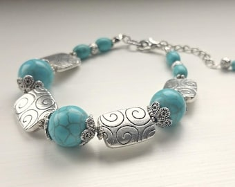 Turquoise and Square Beads Bracelet