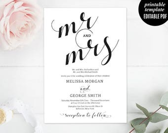 Wedding Invitation Template - Printable Wedding Invitation Set, RSVP, MR and MRS Wedding Invitation, Calligraphy, Modern, Download, Classic